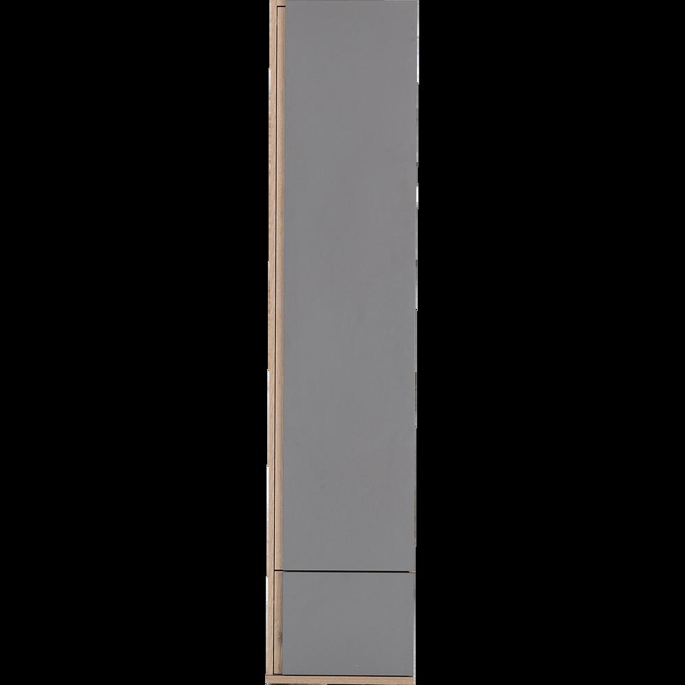 Armoire dressing avec 1 porte et 1 tiroir effet chêne - gris-NESTOR