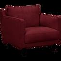 Fauteuil en velours rouge sumac-LENITA