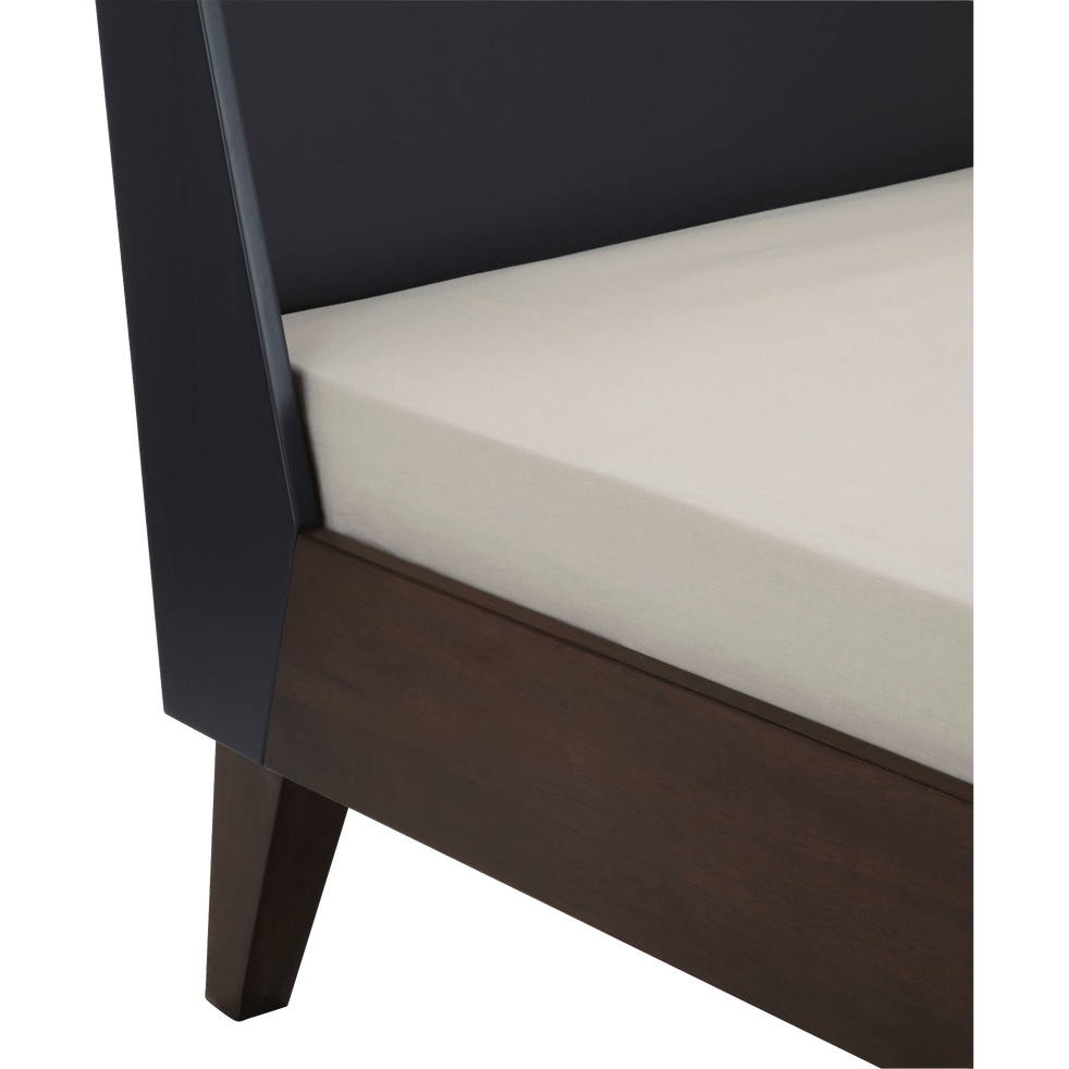 Lit 2 places avec tête de lit en hévéa massif - 140x200 cm-TAKEO