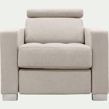 Fauteuil de relaxation en tissu - beige-MAURO