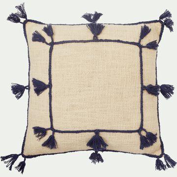 Housse de coussin 45x45 cm en coton avec pompons Blanc écru-ILIES