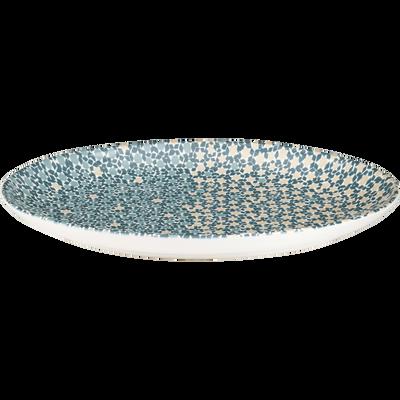 Plat ovale en faïence bleue 40x28cm-ZELLIGES