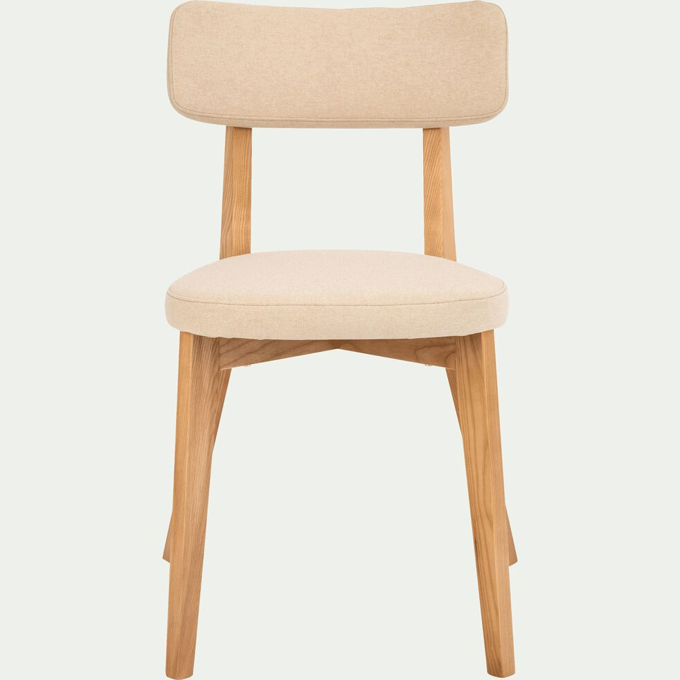 Chaises Alinea Salle A Manger amedee - chaise en tissu blanc nougat avec structure bois clair
