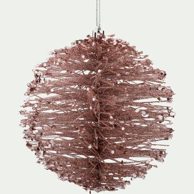 Boule de Noël en plastique rose D15cm-KINH