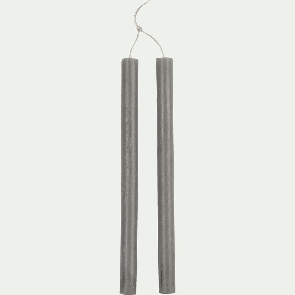 Bougie duo de flambeau gris restanque H30 cm-BEJAIA