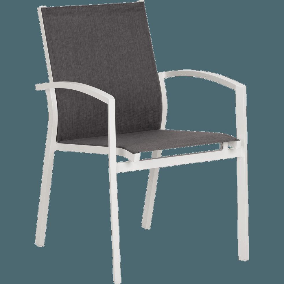 Fauteuil de jardin en aluminium gris et blanc-LANCIANO