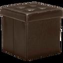 Pouf coffre coloris marron vieilli pliable-Oliver