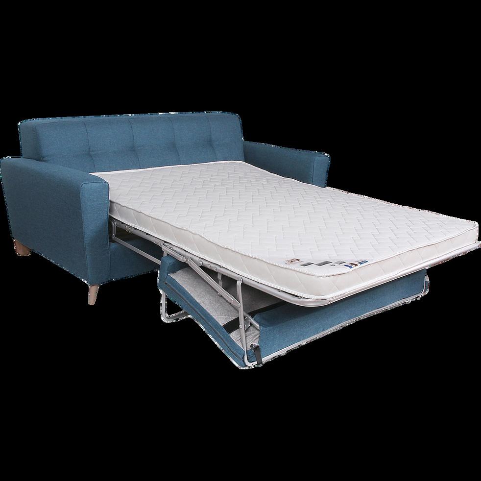 Canapé 3 places convertible en tissu bleu indigo-VICKY