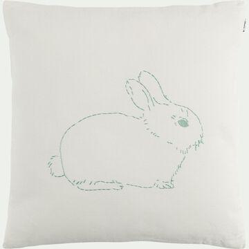 Coussin au motif lapin des Alpilles brodé - 40x40cm beige alpilles-Songe