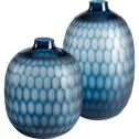 Vase en verre bleu H24,5 cm-CAPAS