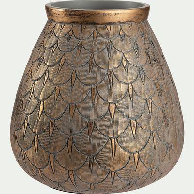 Vase gravé en polyrésine - doré D20xH20cm-OCTAVIO