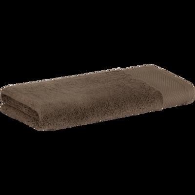 Serviette en coton 50x100cm brun châtaignier-AZUR