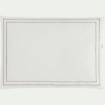 Coussin en coton brodé blanc et noir 50x70 cm-GALLIA