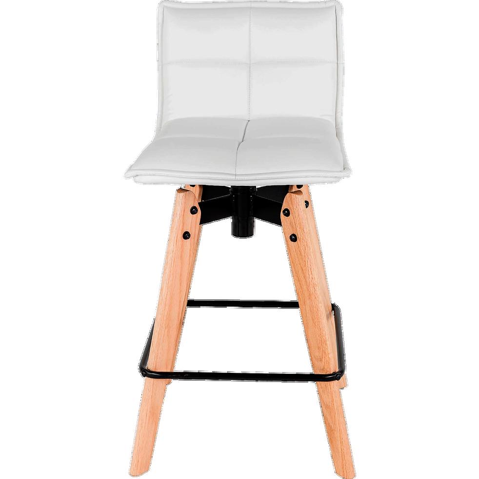 Agathe Chaise De Bar Pivotante En Simili Blanc H66cm