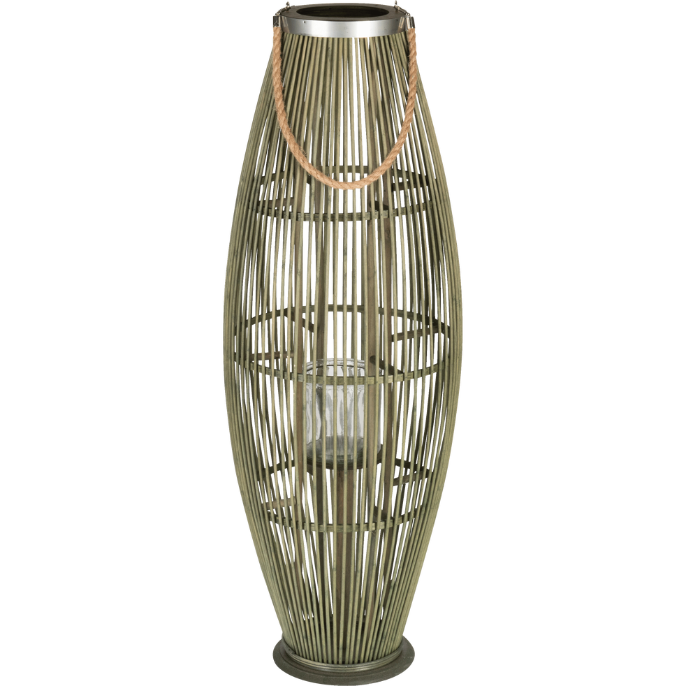 Lanterne en bambou vert H95 cm-Ravenne