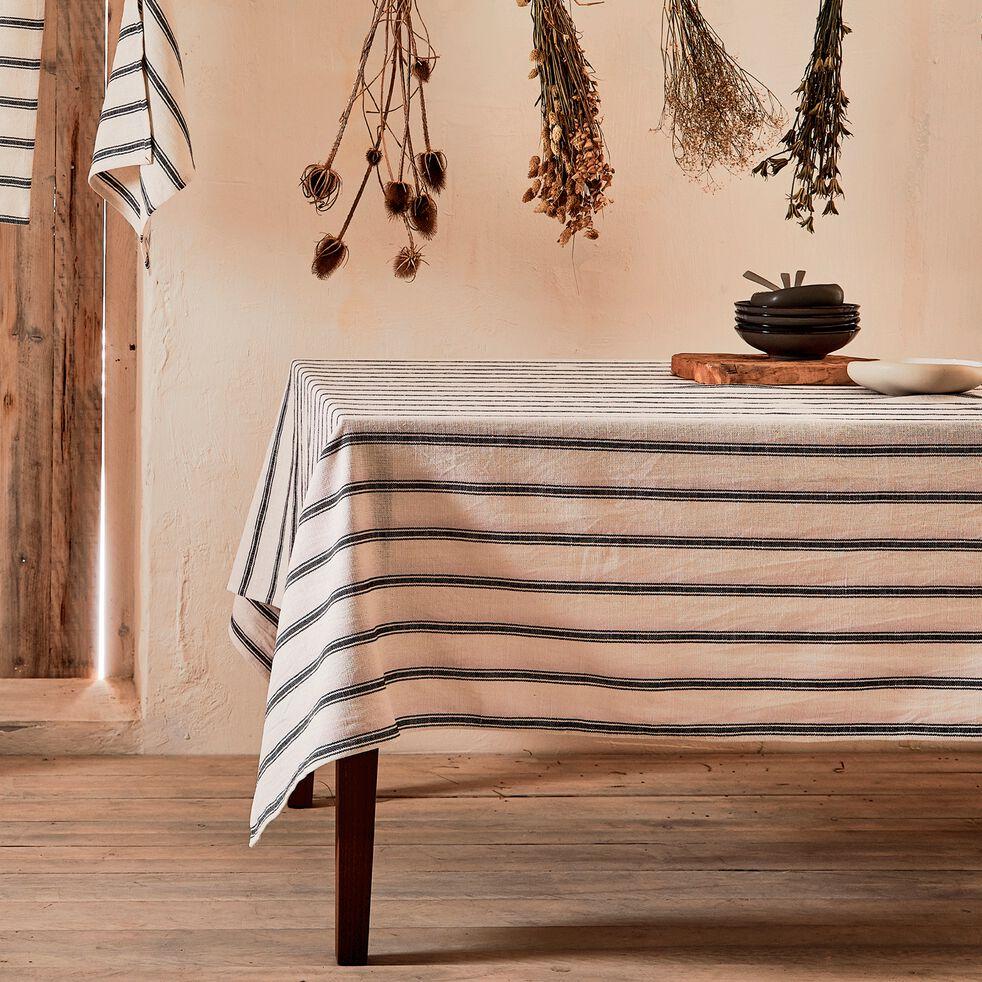 Nappe en lin et coton noir et blanc 170x250cm-PASSO