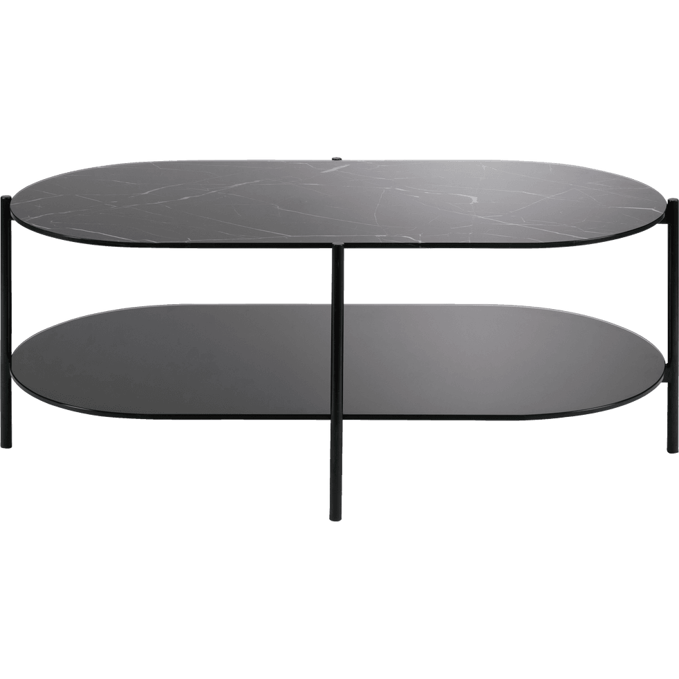 table basse ovale en verre effet marbre noir guiero. Black Bedroom Furniture Sets. Home Design Ideas