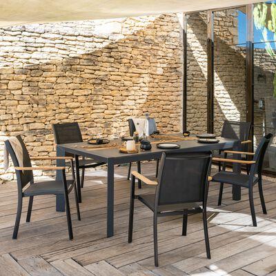 Table de jardin en bois et aluminium - noir (8 places)-MASSIMO