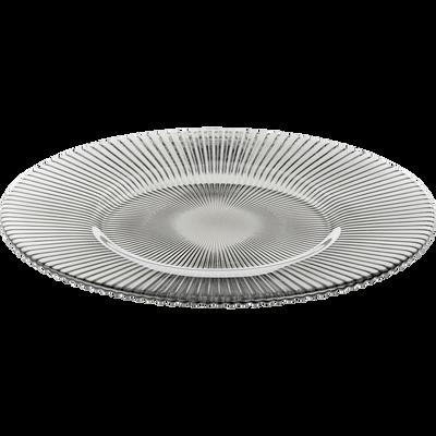 Assiette à dessert en verre strié gris clair D22.5cm-SUPERBE