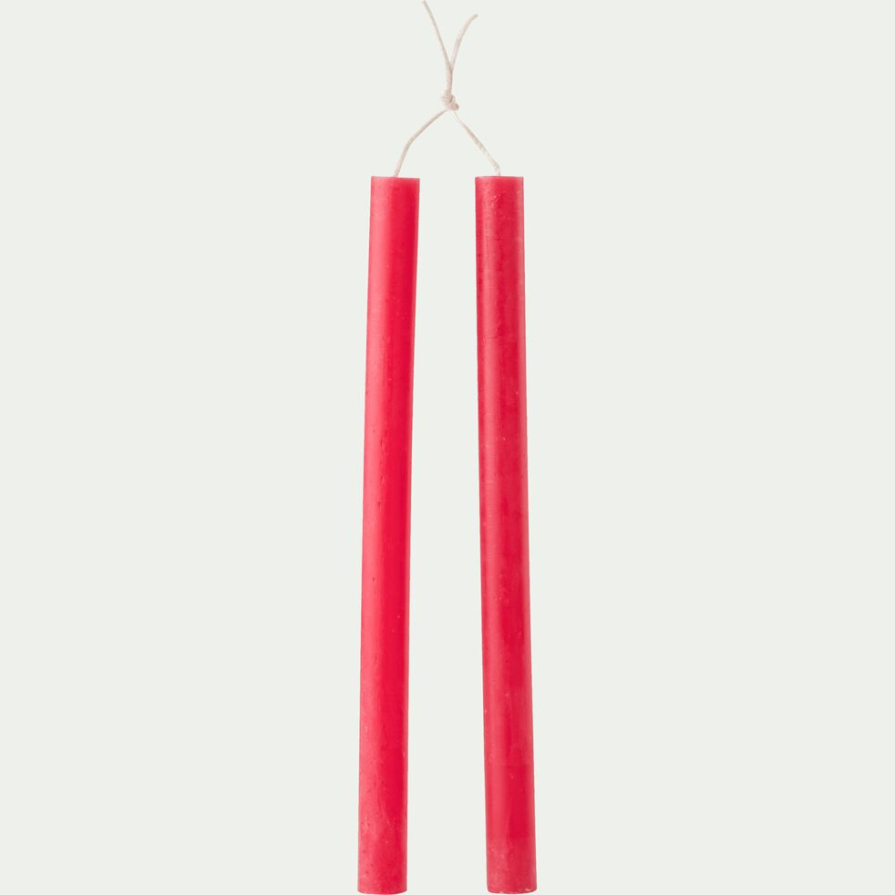 Lot de 2 bougies flambeaux - rouge arbouse H30cm-BEJAIA