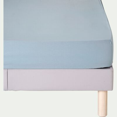 Drap housse en coton - bleu calaluna 160x200cm B30cm-CALANQUES