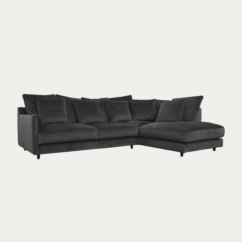 Canapé d'angle droit convertible en velours - gris restanque-LENITA