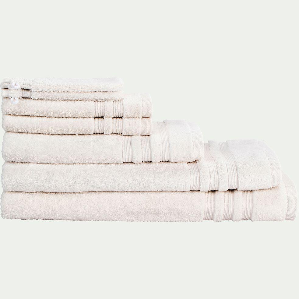 Lot de 2 gants de toilette bouclette en coton - blanc ventoux-Noun