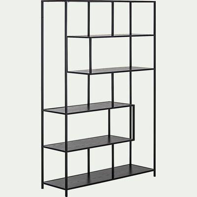 Bibliothèque en acier et bois - noir-LARISSA