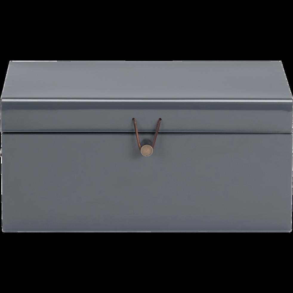 Malle en acier grise L44xl27xH21cm-ALSA