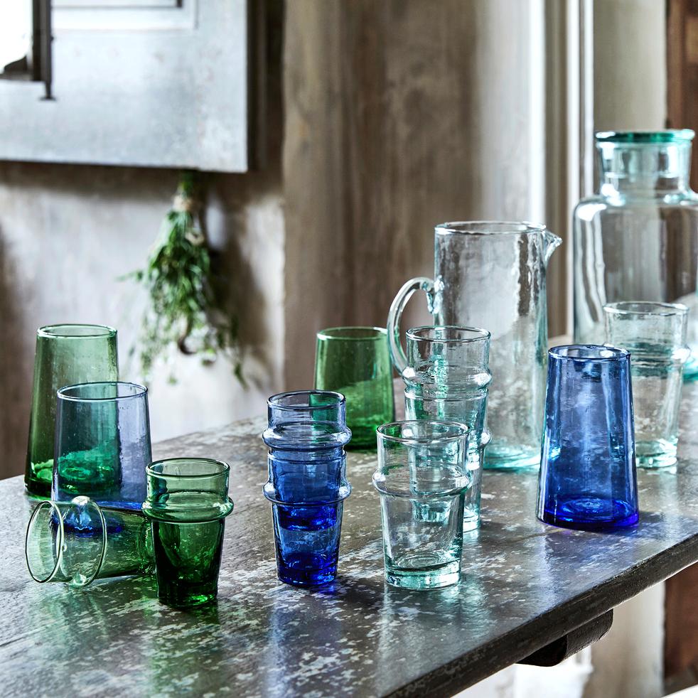 Carafe en verre recyclé avec anse 1.1L-BELDI