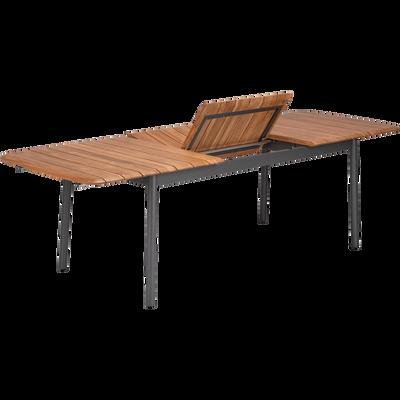 Table de jardin extensible en métal et bois (8 à 12 places)-RAMATUELLE