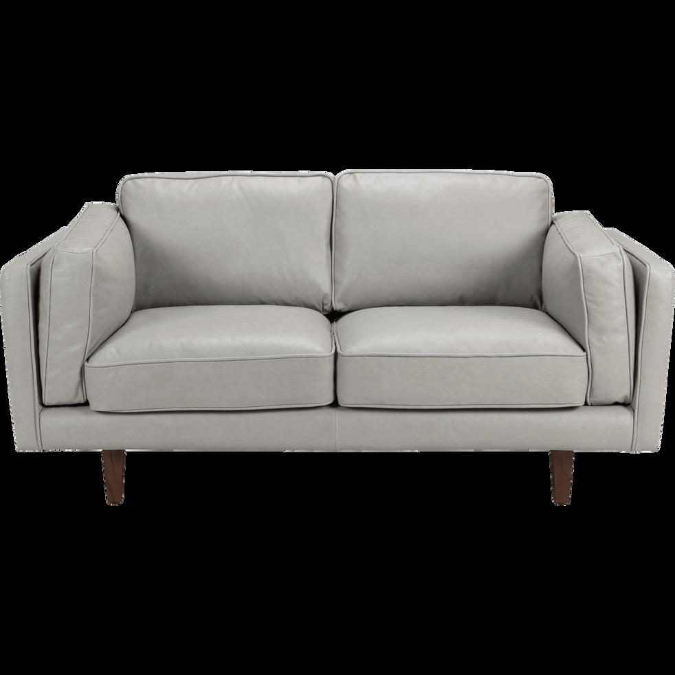 Canap 2 places fixe en cuir gris restanque brooklyn - Canape alinea gris ...