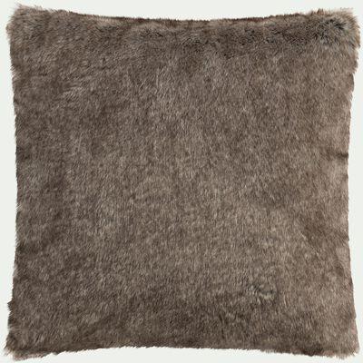 Coussin imitation fourrure en polyester - marron 45x45cm-GUSTAVE