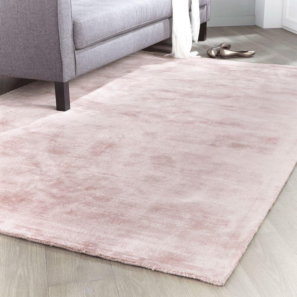 Deco Salon Rose Poudré Et Gris tansen - tapis en viscose rose poudre 160x230cm