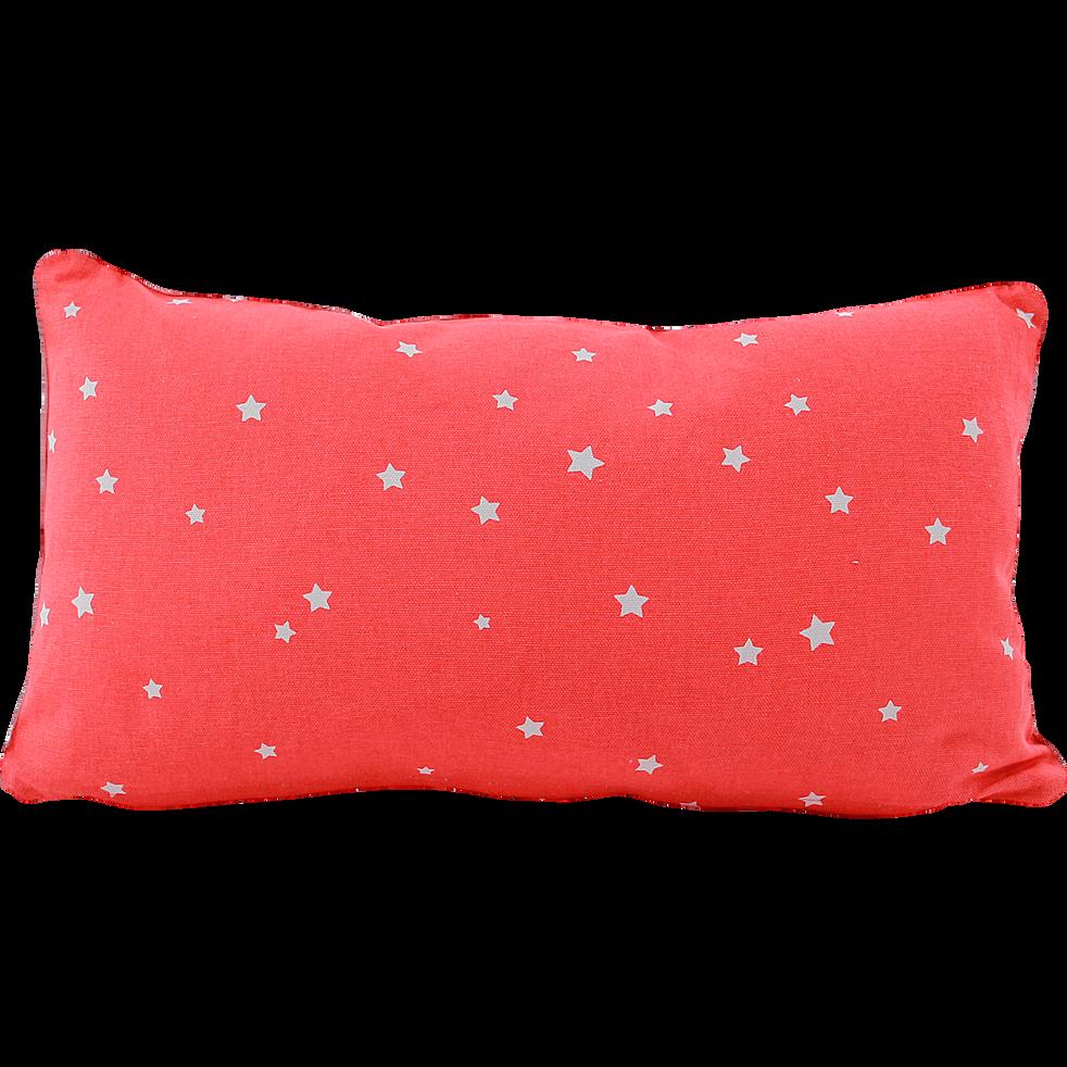 Coussin carré 45x25cm rouge motifs étoiles pour enfant-ETOILE