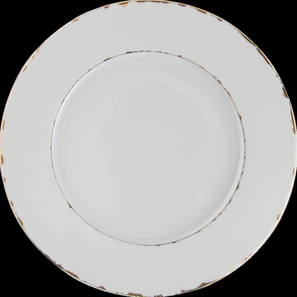 Assiette à dessert en porcelaine blanche et dorée D21cm-REINE