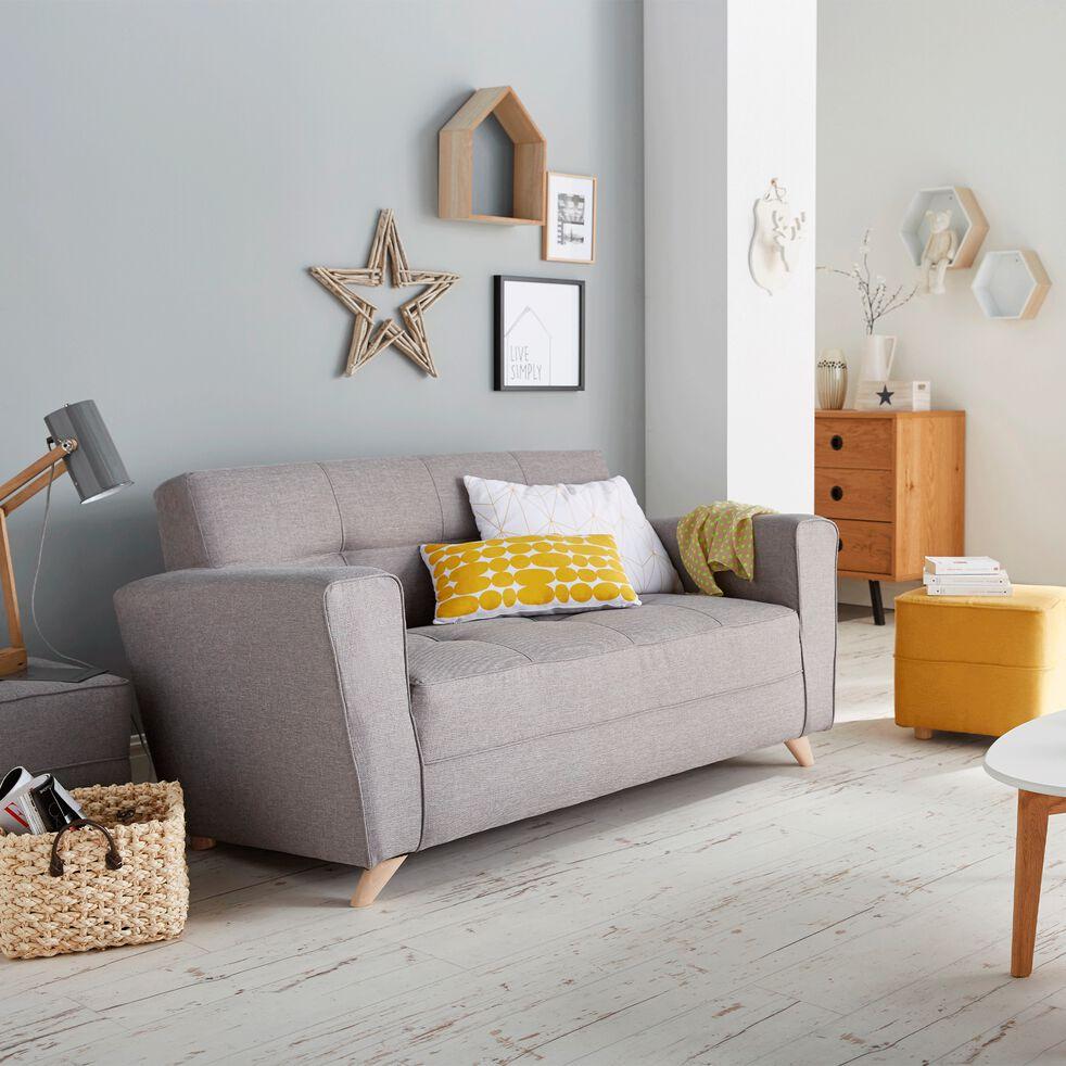 Canapé 2 places fixe en tissu - gris clair-VICKY