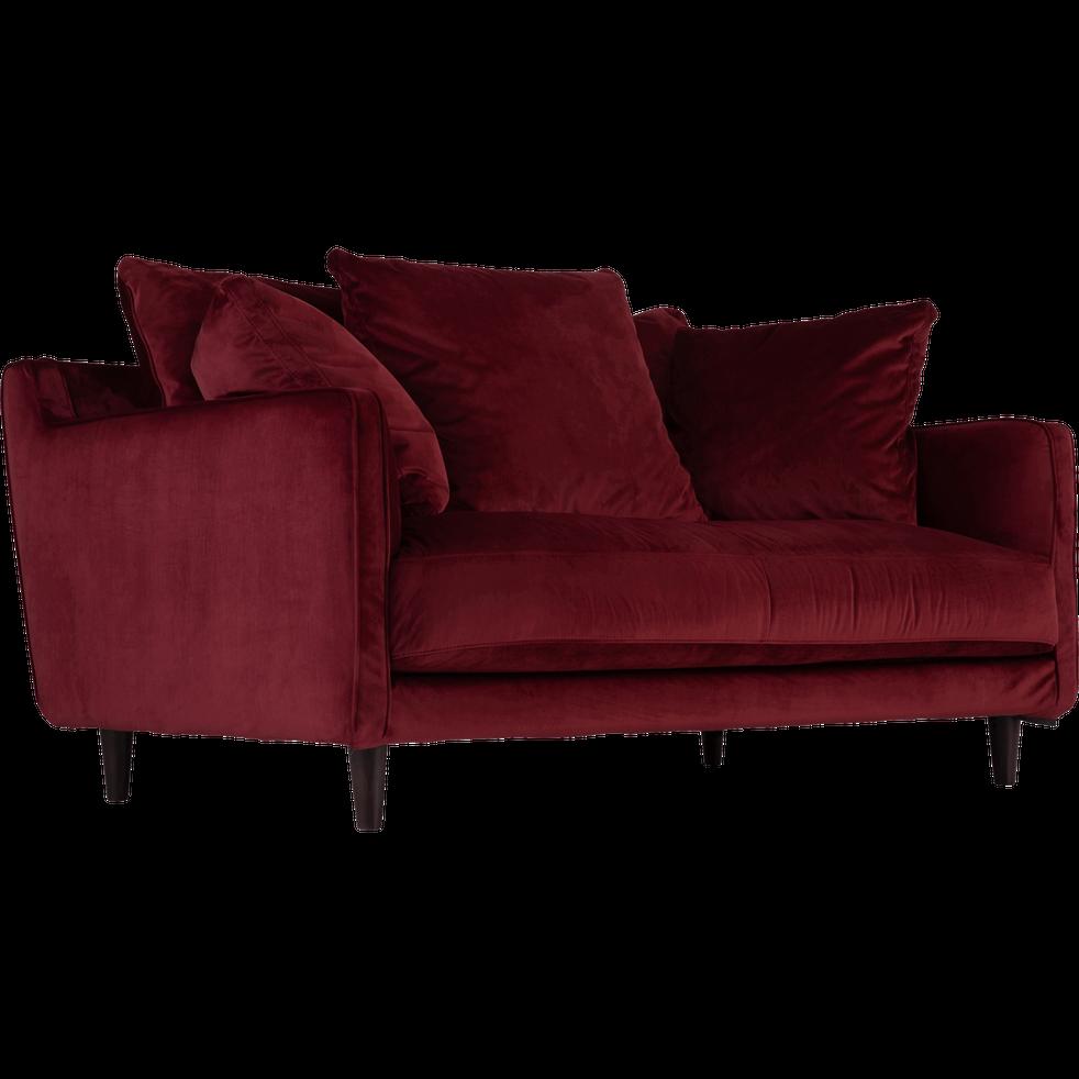 canap 2 places fixe en velours rouge sumac lenita canap s droits en tissu alinea. Black Bedroom Furniture Sets. Home Design Ideas
