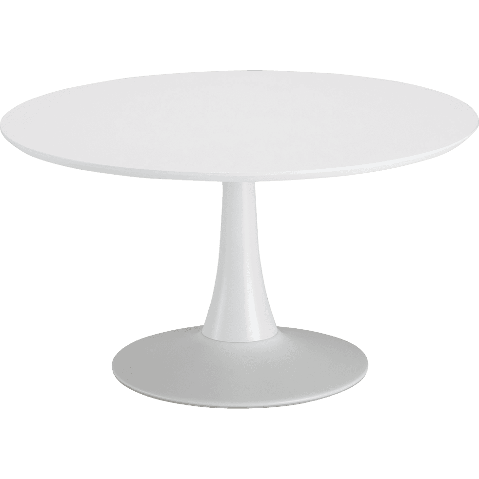 Table basse ronde blanche avec pied tulipe-ACANTHE