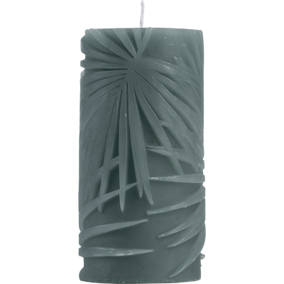 Bougie cylindrique vert foncé H15cm-PALMIER