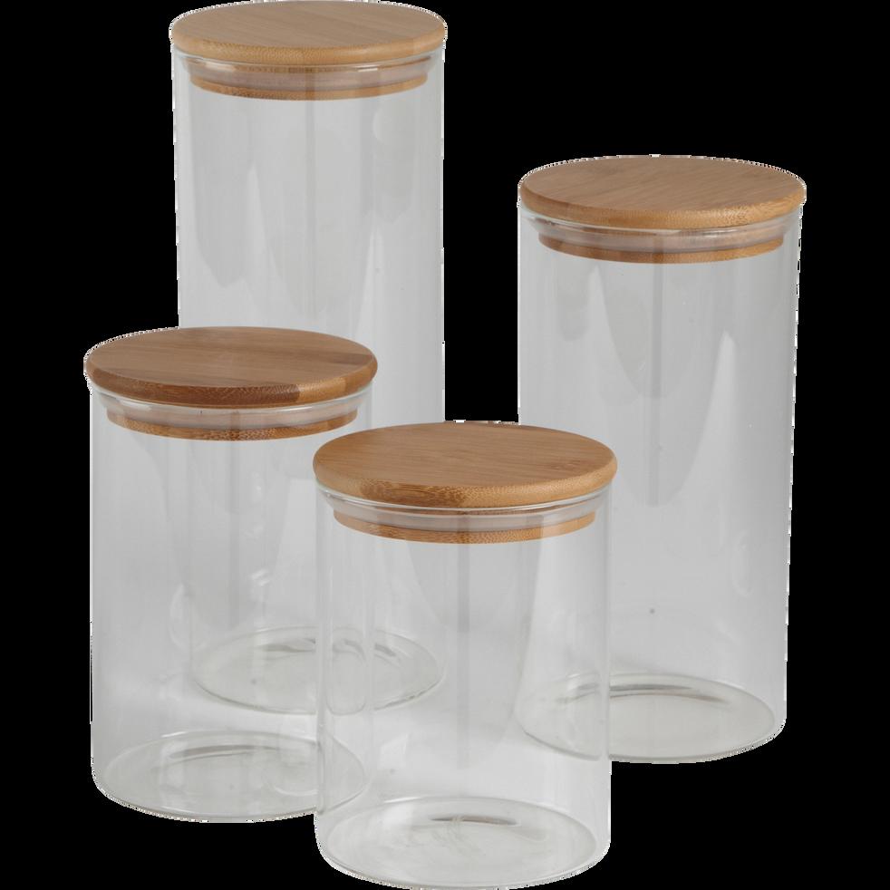 Bocal en verre H15cm avec couvercle en bambou-BILL