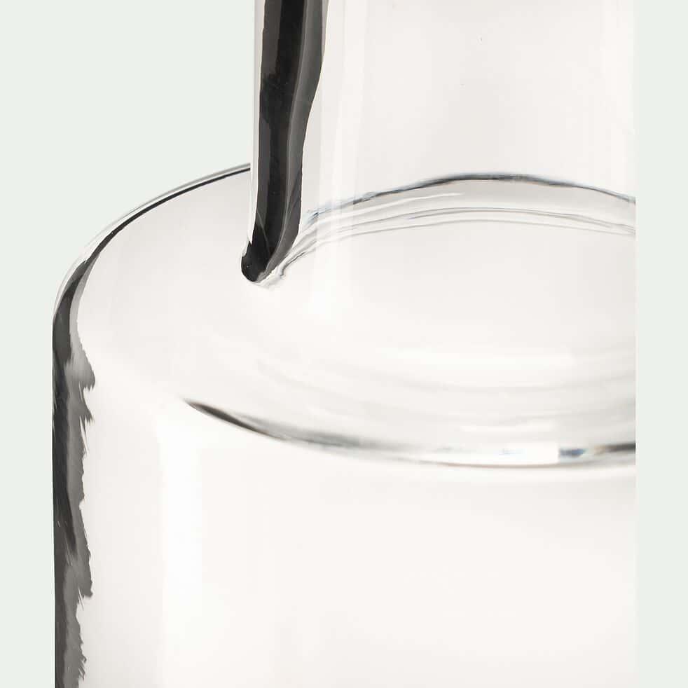 Vase bouteille fait-main en verre - transparent H22cm-AEONIUM