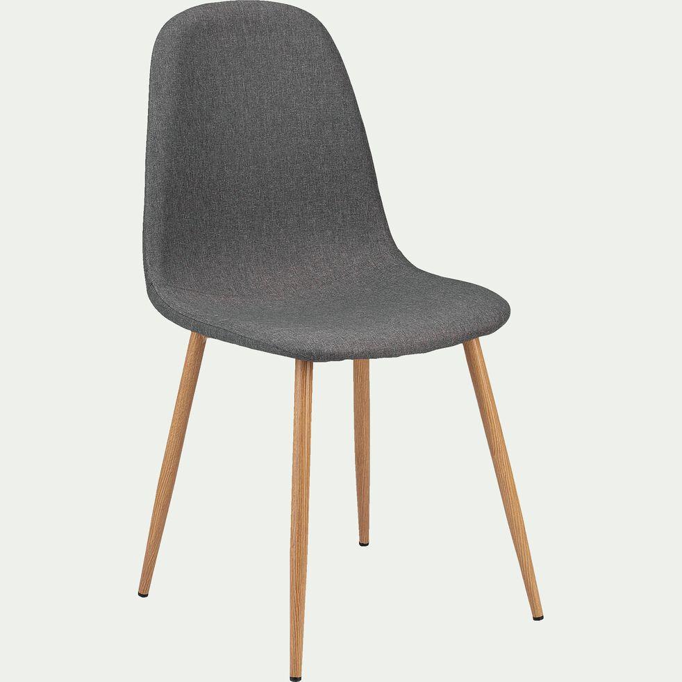 Chaise en acier effet bois et tissu - gris ardoise-LOANA
