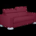 Canapé 3 places fixe en cuir de buffle rouge-MAURO