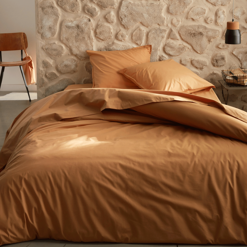 Linge de lit en percale beige nèfle-FLORE