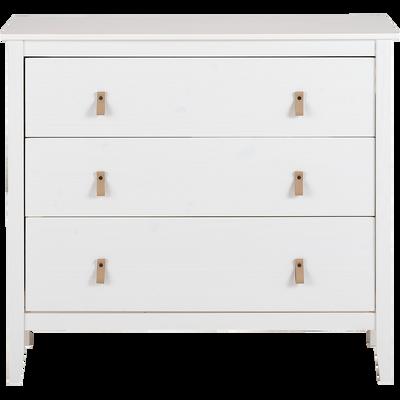 Commode 3 tiroirs pin massif blanc-LISON