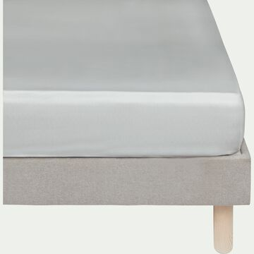 Drap housse rayé en satin - gris borie 140x200cm B25cm-SANTIS