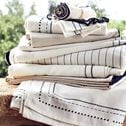 Serviette de table en coton blanc et noir 41x41cm-MEDINE