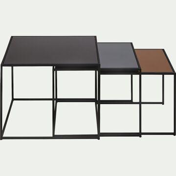 Ensemble de 3 tables basses gigognes en métal et verre-MANOLI