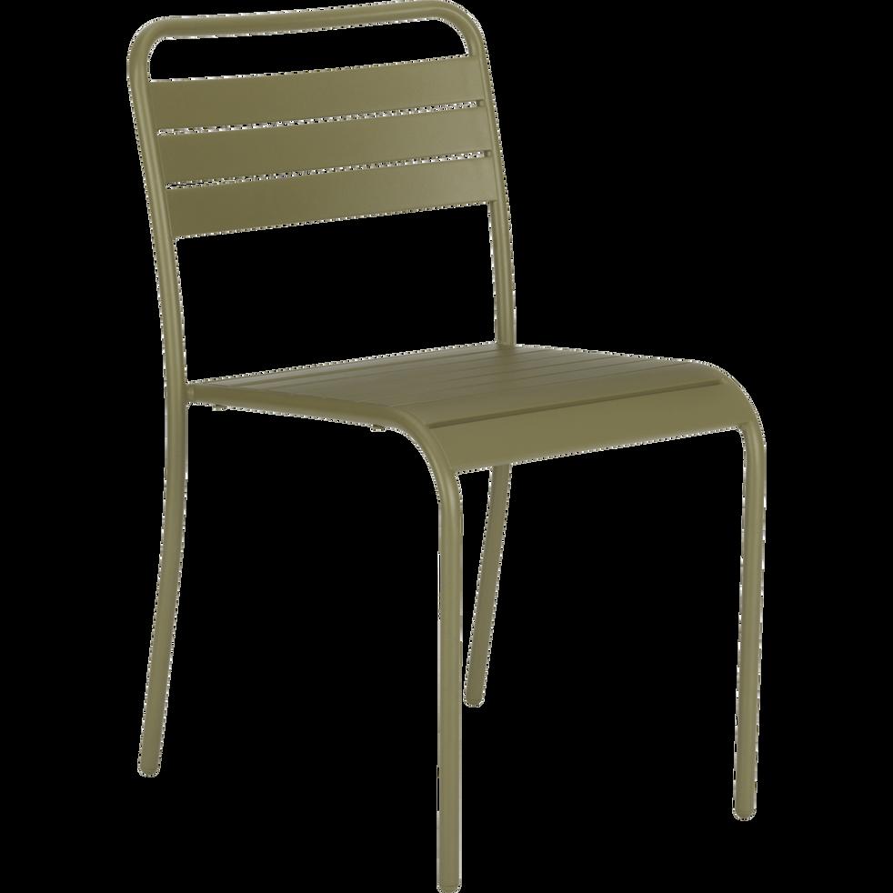chaise de jardin empilable en acier vert souris alinea. Black Bedroom Furniture Sets. Home Design Ideas